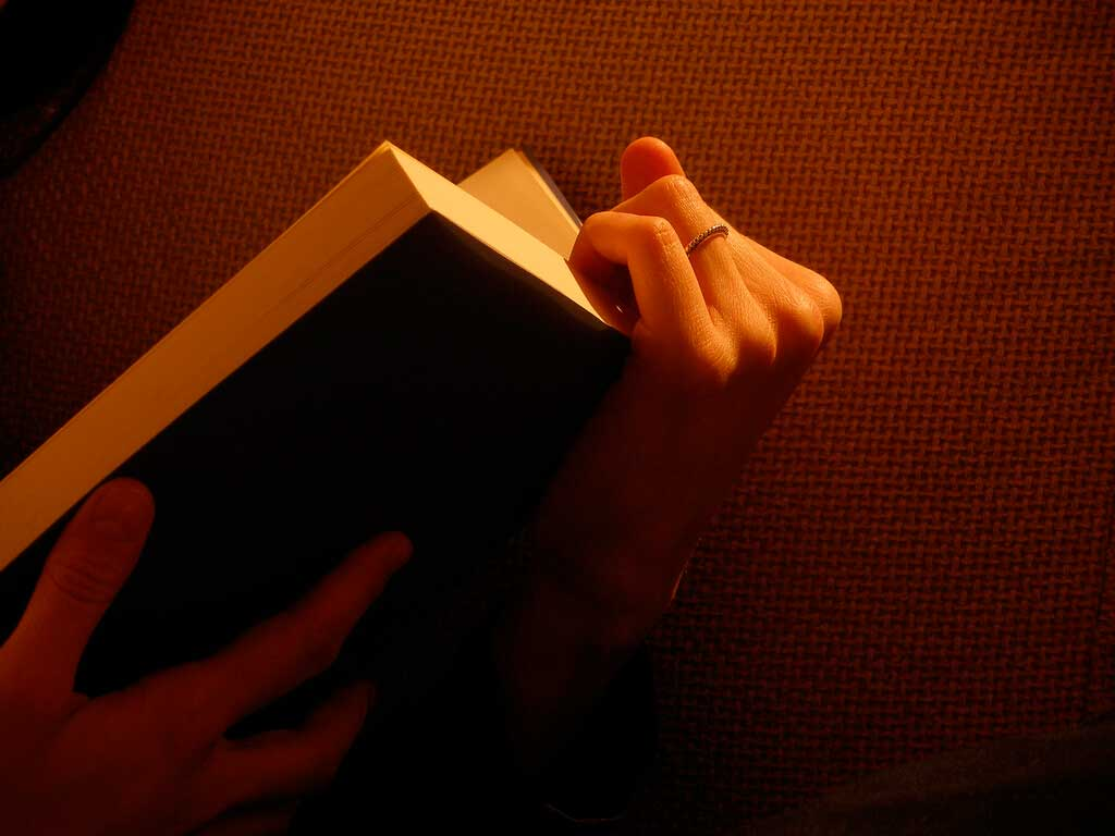 relaxing reading at bed-time